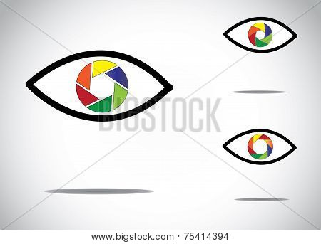 colorful young human eye with different digital camera shutter icon symbols -   abstract photograph