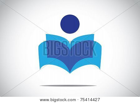 A Human Person Reading An Open Book Concept Illustration Symbol. Colorful Man Studying Literature