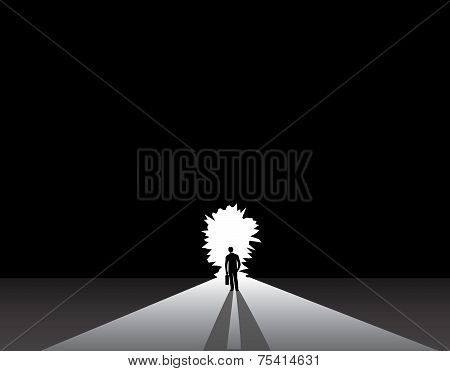 Businessman Silhouette Standing Front Of Door Concept. Nicely Dressed Business Man In Suit