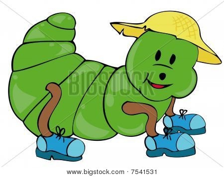 Caterpillar with gym shoes and straw hat.