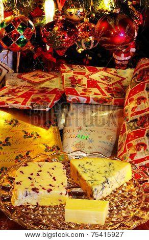 English cheeses and Christmas presents.