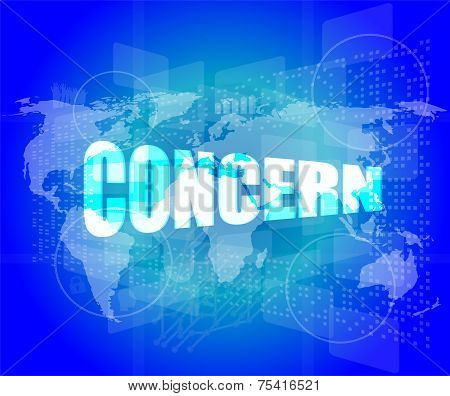 Management Concept: Concern Words On Digital Screen
