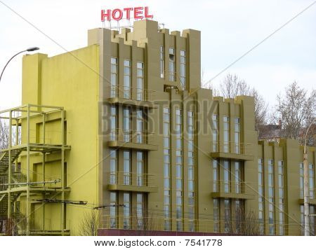 Just Builded Stylish New Yellow Hotel Building