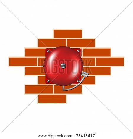 Retro alarm on the brick wall
