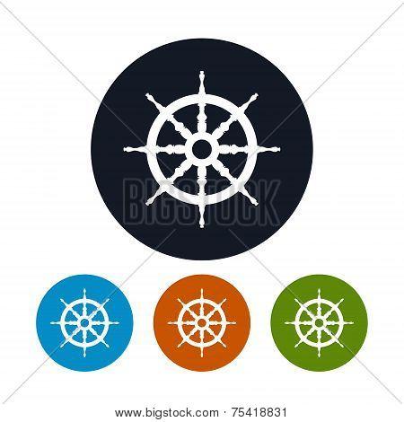 Ship wheel   icon, vector illustration