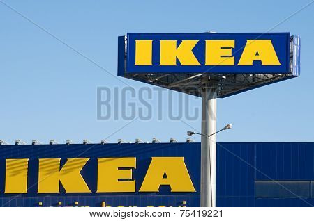 Ankara, Turkey - June 17, 2012:  IKEA billboard in front of their own appliances retailer.