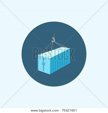 Icon With Colored Container With Crane, Vector Illustration