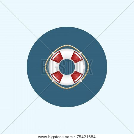 Icon With Colored Lifebuoy, Vector Illustration