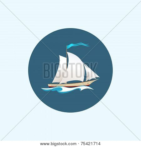 Icon With Colored Sailing Vessel, Vector Illustration
