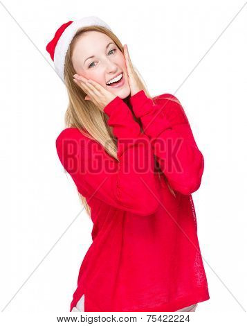 Thrilled woman with christmas hat