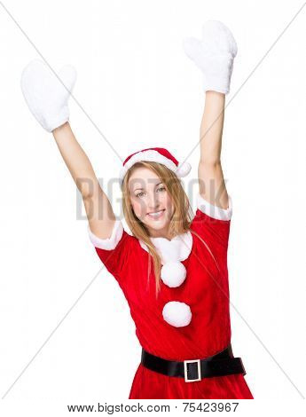 Thrill woman with xmas dress and white gloves