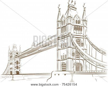 Sketch of British Tourism Landmark - London Bridge