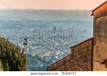Panoramic View Of Florence From Fiesole. Tuscany, Italy