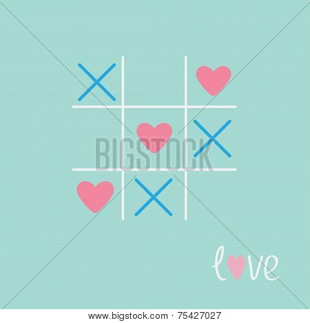 Tic Tac Toe Game With Cross And Heart Sign Mark Love Card Blue Pink Flat Design