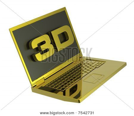 Shiny gold laptop with 3D screen isolated on white