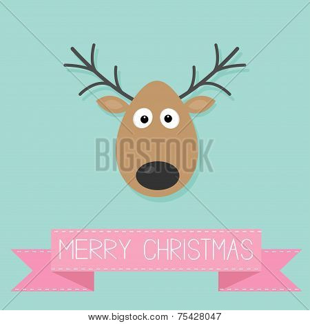 Cute Cartoon Deer With Horn Merry Christmas Background Card Pink Ribbon Flat Design