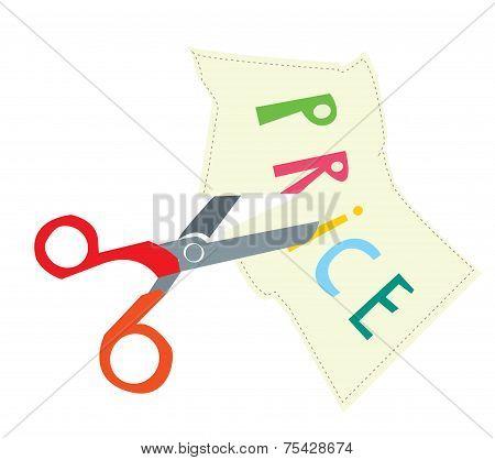 Price discount illustration with scissors