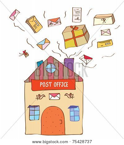 Post office with many letters and boxes