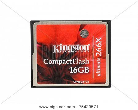 Hayward, CA - October 27, 2014: Kingston Technology Brand 16GB ComapctFlash card, Ultimate 266X