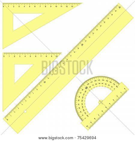 Set - Rulers Triangular Yellow