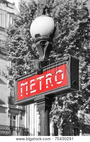 Street Sign. Entrance To Paris Metro, Red Banner