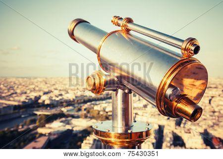 Metal Telescope On Eiffel Tower, Paris. Retro Stylized Photo