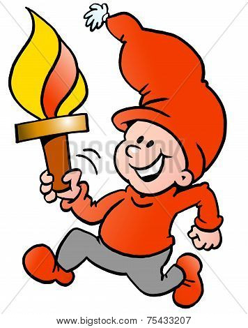Hand-drawn Vector Illustration Of An Happy Christmas Elf Running With A Torch Flame