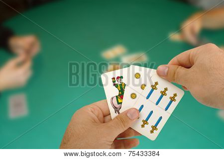 Card Game With Neapolitan Cards.