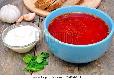 Traditional Ukrainian borscht soup