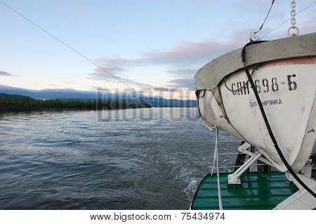 Lifeboat On Ship At Kolyma River