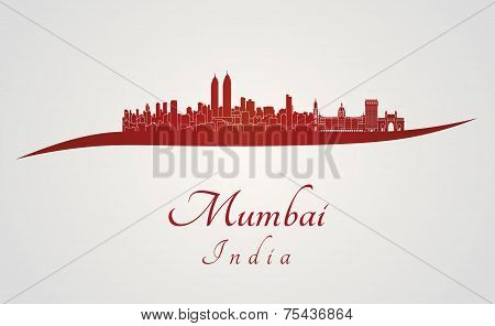 Mumbai Skyline In Red