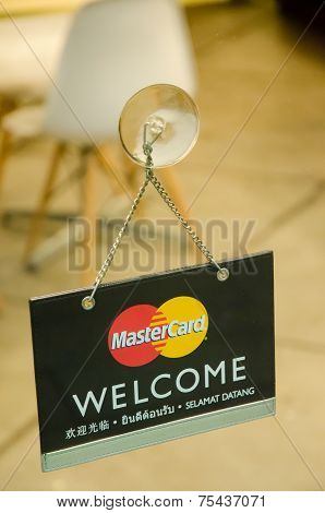 Mastercard Credit Card Logo On A Glass Door