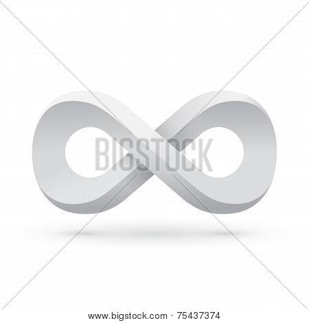 White infinity symbol