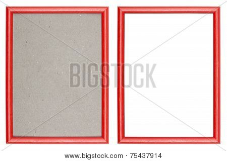 Red Plastic Picture Frame With And Without Gray Cardboard Background, Isolated
