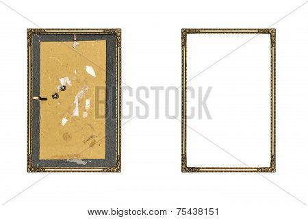Old Golden Picture Frame With And Without Fiberboard Background, Isolated On White