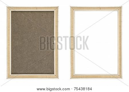 Old White Picture Frame With And Without Fiberboard Background, Isolated On White