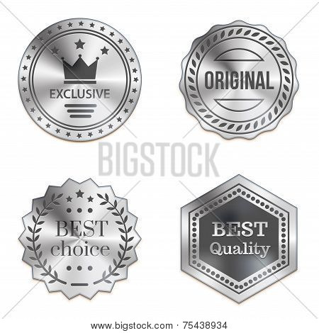 Silver Metal Badges Isolated On White Background