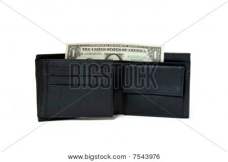 black male leather purse isolated on white