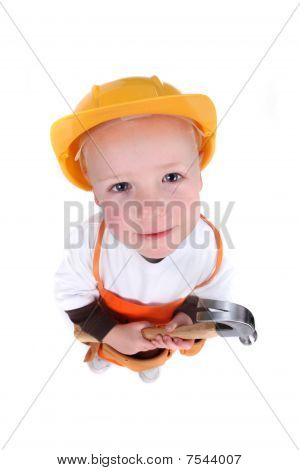 Little Construction Worker On White Background