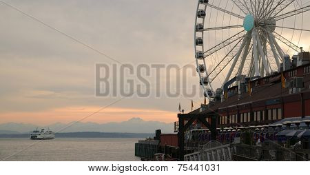Elliott Bay Seattle Waterfront Pier Ferry Great Ferris Wheel