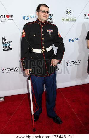 NEW YORK, NY - NOVEMBER 05: Steven Schulz, Corporal, US Machine Corps, Veteran attends 8th Annual Stand Up For Heroes Event at The Theater at Madison Square Garden on November 5, 2014 in New York City