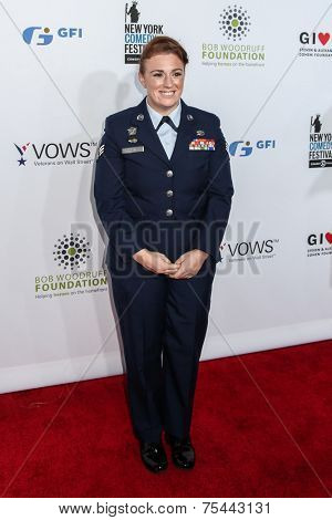 NEW YORK, NY - NOVEMBER 05: Amanda Martino Senior Airman, Air National Guard, Active attend 2014 Stand Up For Heroes at Madison Square Garden on November 5, 2014 in New York City.
