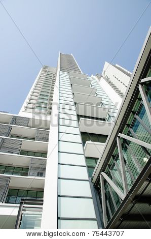 Modern Residential Condominium With Clear Blue Sky