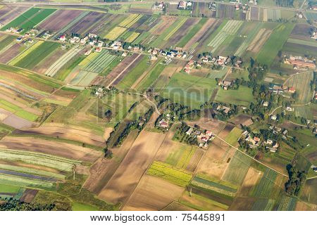 Aerial Of Polish Farmland Near Cracow