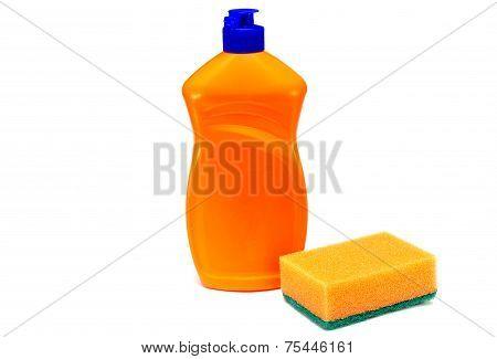 dish soap and a sponge