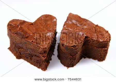 Heart shaped slices of a brownie