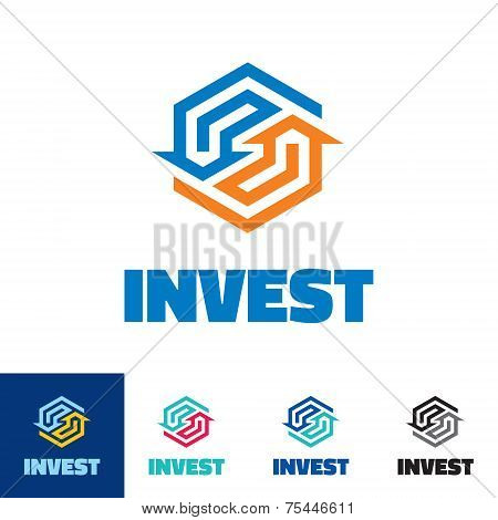 Invest - business logo concept illustration