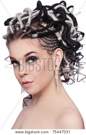Portrait of young beautiful girl with dreads over white background
