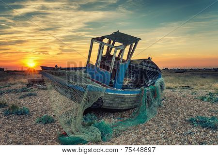 Abandoned Fishing Boat Wtih Nets