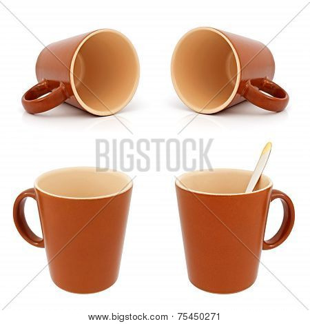 Brown Cup On The White Background